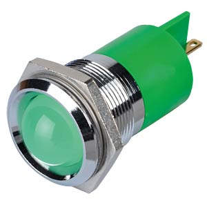 Indicator LED, 220 V AC, 22 mm, FASTON, green/BrC APEM Q22P1CXXG220E