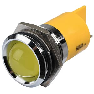 Indicator LED, 220 V AC, 22 mm, FASTON, yellow/BrC APEM Q22P1CXXY220E