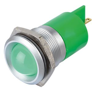 Indicator LED, 220 V AC, 22 mm, FASTON, green/SG APEM Q22P1GXXG220E