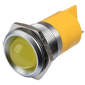 Indicator LED, 220 V AC, 22 mm, FASTON, yellow/SG APEM Q22P1GXXY220E