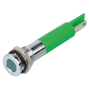 Indicator LED, 24 V DC, 8 mm, FASTON, green/BrC APEM Q8F1CXXG24E