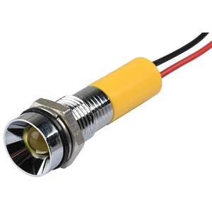 Indicator LED, 24 V DC, 8 mm, wired, yellow/BrC APEM Q8R3CXXY24E