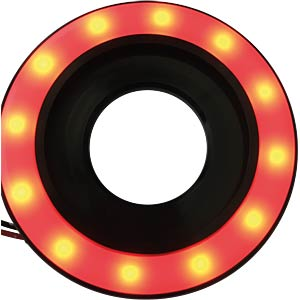 LED-Signalring, Ø22/55 mm, rot, schwarz matt, IP67 APEM QH22L27RC