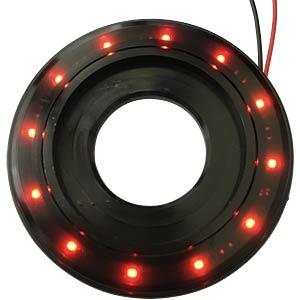 LED-Signalring, Ø22/55 mm, rot, schwarz, klar, IP67 APEM QH22L28RC