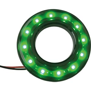 HALO-LED, Ø22/42 mm, green, black, tinted, IP67 APEM QH22028GC