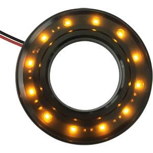 LED-Signalring, Ø19/38,5 mm, gelb, schwarz, klar, IP67 APEM QH19028YC
