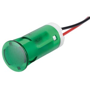 Indicator LED, 220 V AC, 12 mm, wired,  green APEM QS123XXHG220