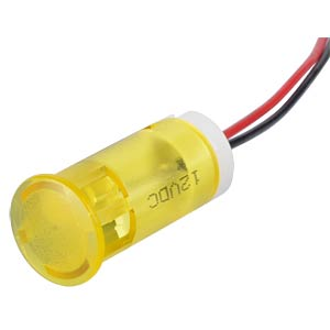 Indicator LED, 12 V DC, 12 mm, wired, yellow APEM QS123XXY12