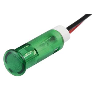 Indicator LED, 12 V DC, 6 mm, wired, green APEM QS63XXG12
