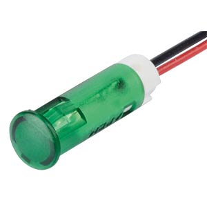 Indicator LED, 12 V DC, 8 mm, wired, green APEM QS83XXG12