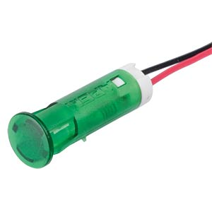 Indicator LED, 24 V DC, 8 mm, wired, green APEM QS83XXG24