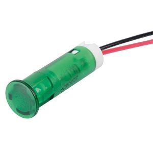 Indicator LED, 220 V AC, 8 mm, wired,  green APEM QS83XXHG220
