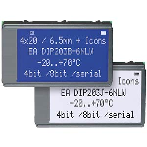 LCD DIP module, supertwist, 4 x 20 characters, black ELECTRONIC ASSEMBLY EA DIP203J-6NLW