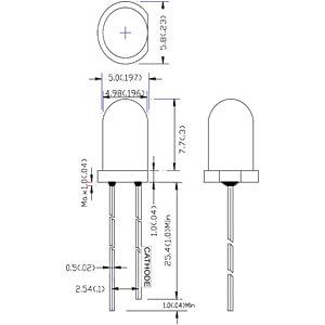 LED, 5 mm, bedrahtet, rot, 800 mcd , 15° RND COMPONENTS RND 135-00029
