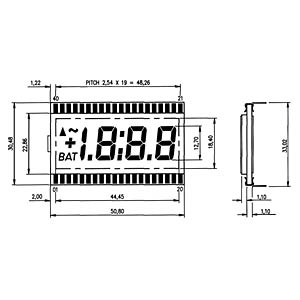 LCD-7-Segment, 1x3 + SZ, H:12,7mm DISPLAY ELEKTRONIK DE 114-RS-20/7,5