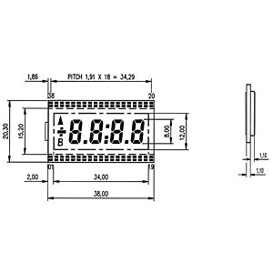 LCD-7-Segment, 1x4, H:8,0mm DISPLAY ELEKTRONIK DE 118-RS-20/6,35