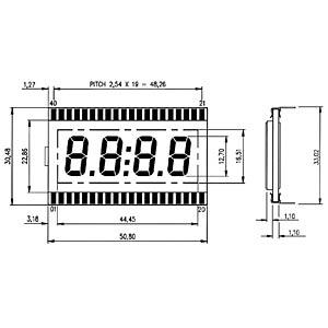 LCD-7-Segment, 1x4, H:12,7mm DISPLAY ELEKTRONIK DE 119-RS-20/7,5