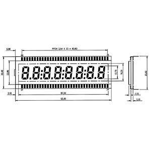LCD-7-Segment, 1x8, H:12,7mm DISPLAY ELEKTRONIK DE 125-TU-30/12,2