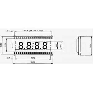 LCD-7-Segment, 1x4, H:8,9mm DISPLAY ELEKTRONIK DE 127-RS-20/6,35
