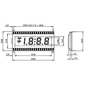 LCD-7-Segment, 1x3 + SZ, H:8,9mm DISPLAY ELEKTRONIK DE 151-RS-20/7,5