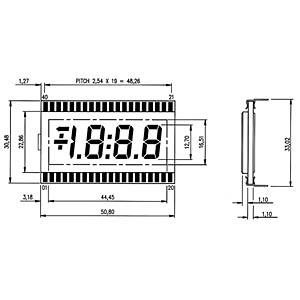 LCD-7-Segment, 1x3 + SZ, H:12,7mm DISPLAY ELEKTRONIK DE 170-RS-20/7,5
