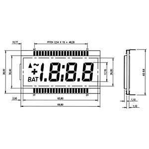 LCD-7-Segment, 1x3 + SZ, H:17,8mm DISPLAY ELEKTRONIK DE 182-RS-20/7,5