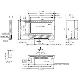 LCD-Grafikdisplay, 128x64 Pixel, sw/ws, m.Bel. DISPLAY ELEKTRONIK DEM 128064F FGH-PW