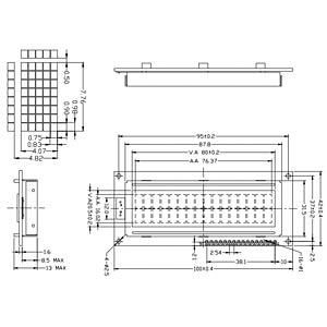 LCD-Modul, 2x16, H:7,8mm, ge/gn, m.Bel. DISPLAY ELEKTRONIK DEM 16214 SYH-LY