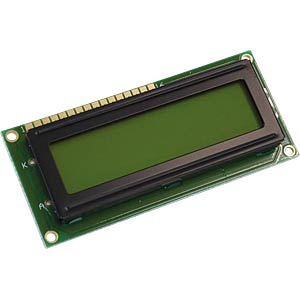 LCD-Modul, 2x16, H:5,6mm, ge/gn, m.Bel. DISPLAY ELEKTRONIK DEM 16216 SYH-LY
