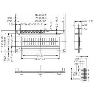 LCD-Modul, 2x16, H:5,6mm, ge/gn, m.Bel. DISPLAY ELEKTRONIK DEM 16216 SYH-PY