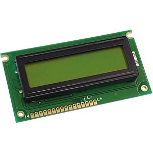 LCD-Modul, 2x16, H:5,6mm, ge/gn, m.Bel. DISPLAY ELEKTRONIK DEM 16217 SYH-LY