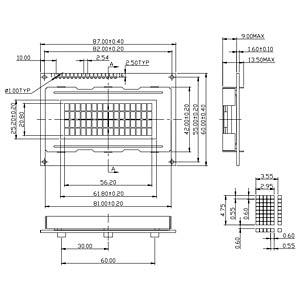 LCD-Modul, 4x16, H:4,8mm, bl/ws, m.Bel. DISPLAY ELEKTRONIK DEM 16481 SBH-PW-N