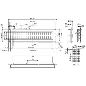 LCD-Modul, 2x20, H:8,3mm, ge/gn, m.Bel. DISPLAY ELEKTRONIK DEM 20232 SYH-LY