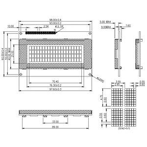 LCD-Modul, 4x20, H:4,8mm, ge/gn DISPLAY ELEKTRONIK DEM 20485 SYH