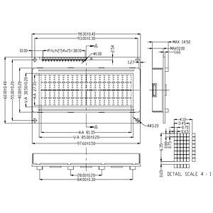 LCD-Modul, 4x20, H:6,4mm, bl/ws, m.Bel. DISPLAY ELEKTRONIK DEM 20486 SBH-PW-N