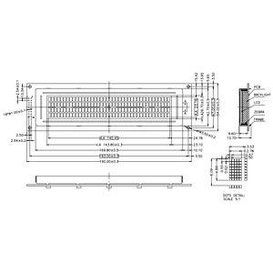 LCD-Modul, 4x40, H:4,9mm, ge/gn, m.Bel. DISPLAY ELEKTRONIK DEM 40491 SYH-LY