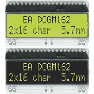 DOG-Serie 3,3V Hintergrund: gn/ge ELECTRONIC ASSEMBLY EA DOGM162E-A