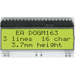 LCD-Textmodul, 48,3 x 12 mm, weiß ELECTRONIC ASSEMBLY EA DOGM163W-A