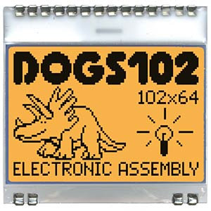 Graphics display with SPI 39 x 41 mm, 102 x 64 pixels, blue ELECTRONIC ASSEMBLY EA DOGS102B-6