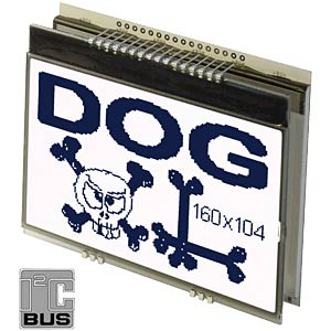Graphics display with SPI and I²C 160 x 104 pixels, blue ELECTRONIC ASSEMBLY EA DOGXL160B-7