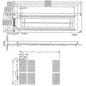 LCD-Modul, 2x20, H:12,7mm, bl/ws, m.Bel. ELECTRONIC ASSEMBLY EA E202-CNLW