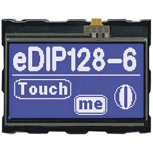LCD-Display, 128 x 64 Pixel, blau negativ, Touch ELECTRONIC ASSEMBLY EA EDIP128B-6LWTP