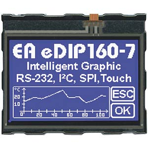 LCD-Display, 160 x104 Pixel, blau negativ, Touch ELECTRONIC ASSEMBLY EA EDIP160B-7LWTP