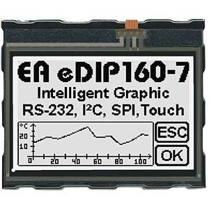 LCD display, 160 x 104 pixels, bw/wb positive, touch ELECTRONIC ASSEMBLY EA EDIP160W-7LWTP