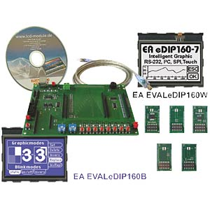 Starter kit with eDIP160W LCD, touch ELECTRONIC ASSEMBLY EA EVALEDIP160W