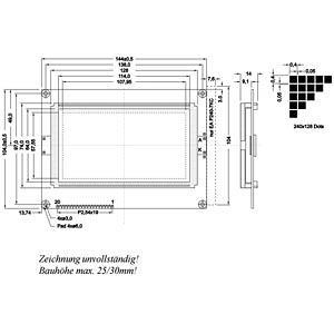LCD-Grafikdisplay, 240x128 Pixel, bl/ws, m.Bel. ELECTRONIC ASSEMBLY EA GE240-7KCV24