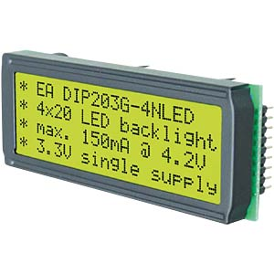 LCD DIP module, supertwist, 4 x 20 characters, yellow/green ELECTRONIC ASSEMBLY EA DIP203G-4NLED