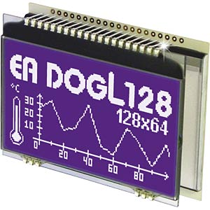LCD-Grafikmodul, 60,8 x 32,9 mm, schwarz ELECTRONIC ASSEMBLY EA DOGL128S-6