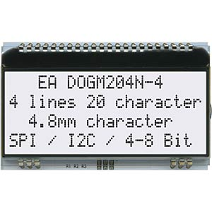 LCD-Textmodul, 59 x 21,3 mm, weiß ELECTRONIC ASSEMBLY EA DOGM204N-A