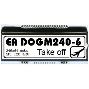 LCD-Grafikmodul, 82,8 x 10,5 mm, weiß ELECTRONIC ASSEMBLY EA DOGM240W-6